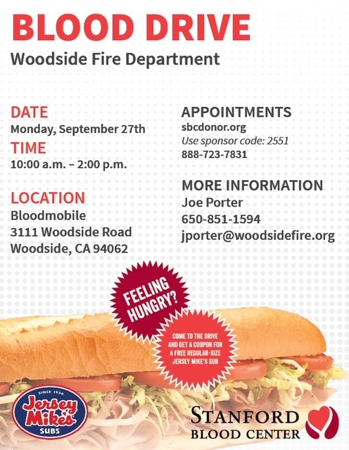 Woodside Fire Hosts Blood Drive in Partnership with Standford Blood Center September 27, 2021