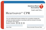 Heartsaver CPR Card available from Ross Valley Fire Department